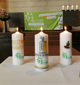 72h Aktion - Das Projekt steht nun fest<br/>3 von 4 Projektkerzen für die 72h Aktion in der Peter und Paul Gemeinde